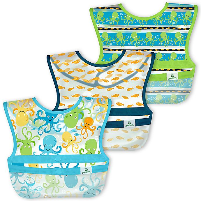 Alternate image 1 for green sprouts® 3-Pack Snap & Go Wipe-Off Bibs