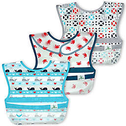 green sprouts® 3-Pack Whale Snap & Go® Wipe-Off Bibs in Aqua/Grey