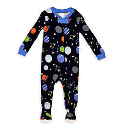 Night Life Space Zip-Front Footed Pajama in Blue