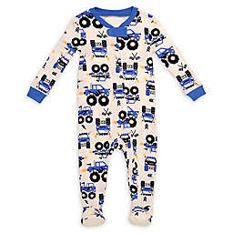 Night Life Trucks Zip-Front Footed Pajama in Blue