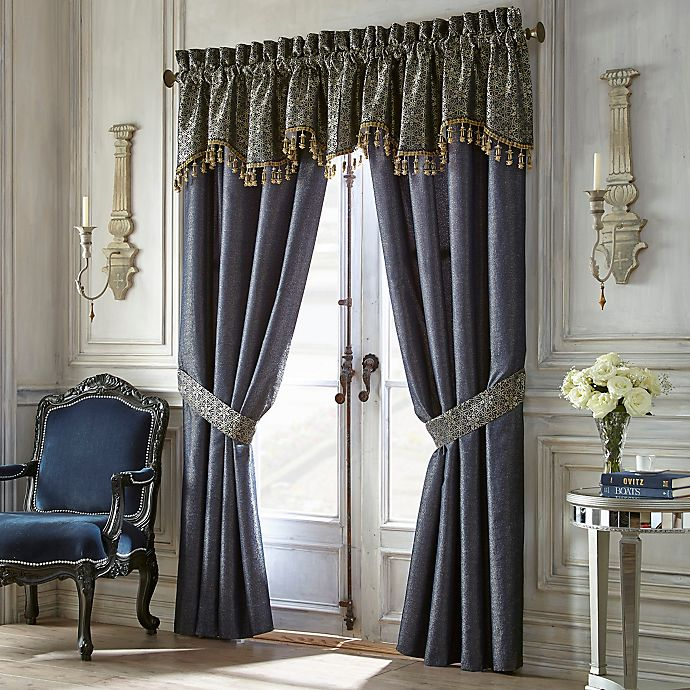 Alternate image 1 for Waterford Vaughn Scalloped Window Valance in Navy/Gold