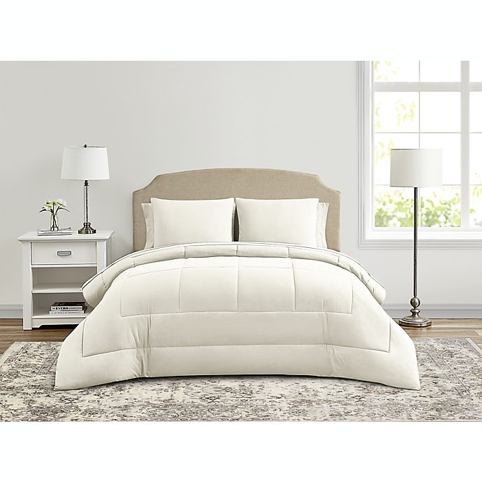 Alternate image 1 for Wamsutta® Lustleigh Washed 5-Piece Twin Comforter Set in Coconut Milk