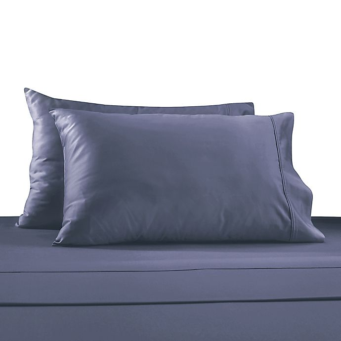 Alternate image 1 for 330-Thread Count 100% Cotton Sateen King Pillowcases in Blue (Set of 2)