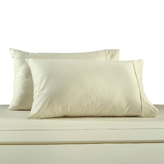 Alternate image 1 for 330-Thread Count 100% Cotton Sateen King Pillowcases in Ivory (Set of 2)