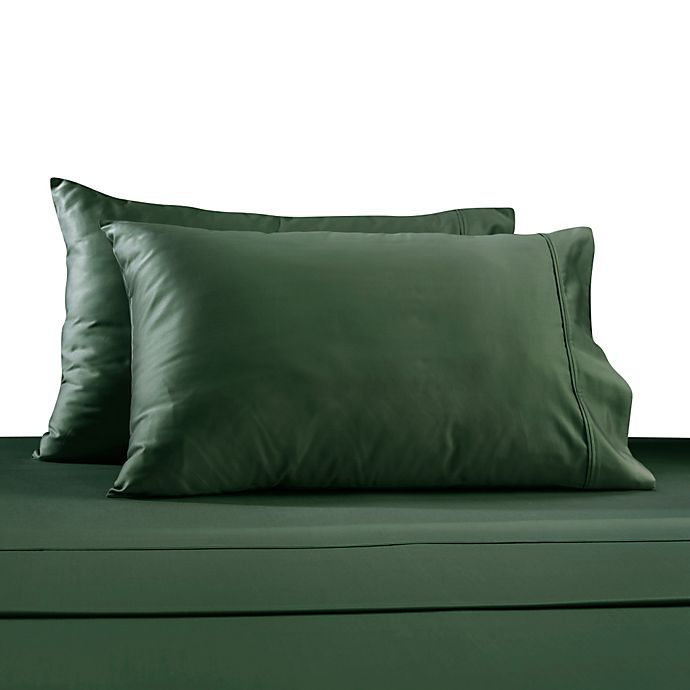 Alternate image 1 for 330-Thread Count 100% Cotton Sateen King Pillowcases in Turquoise (Set of 2)