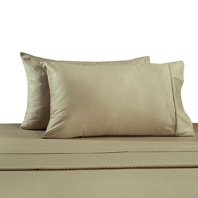 Alternate image 1 for 330-Thread Count 100% Cotton Sateen Standard Pillowcases in Taupe Dot (Set of 2)