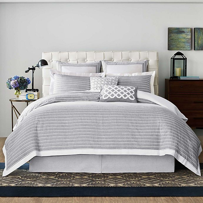 Real Simple® Soleil Duvet Cover in Grey | Bed Bath and ...