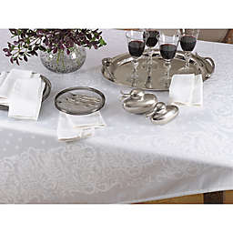 Saro Lifestyle Jacquard 72-Inch Square Tablecloth in White