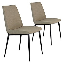 Moe S Home Collection Upholstered Dining Chairs in Cream White(Set of 2)