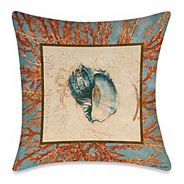 Square Outdoor Throw Pillow in Coral Medley Shell 1
