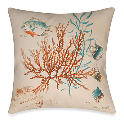 Square Outdoor Throw Pillow in Coral Medley 1
