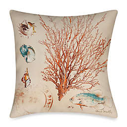 Square Outdoor Throw Pillow in Coral Medley 2