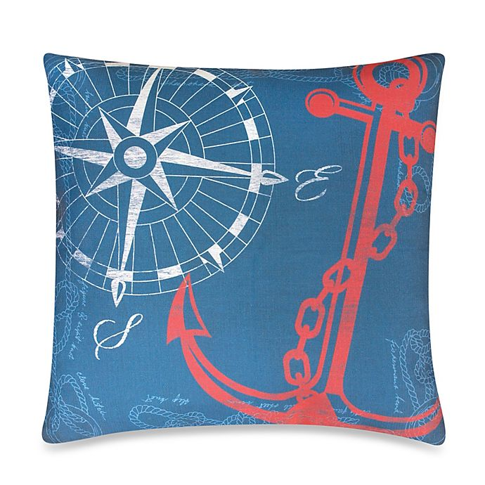 Anchors Away Outdoor Throw Pillow In Nautical Bed Bath