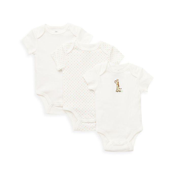 Alternate image 1 for Little Me® 3-Pack Giraffe Bodysuit in Ivory
