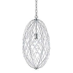 AF Lighting Oval Silver Web Pendant