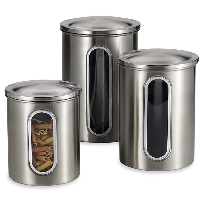 Alternate image 1 for Polder® Brushed Stainless Steel Window Canisters (Set of 3)