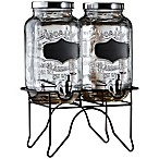 Blackboard Glass Beverage Dispenser with Metal Stand