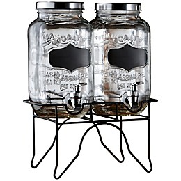 Blackboard 0.9-Gallon Glass Beverage Dispenser with Metal Stand