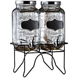 Blackboard Glass Beverage Dispenser with Metal Stand