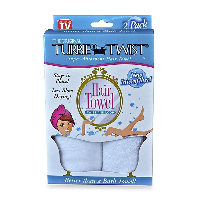 Alternate image 1 for The Original Turbie Twist® Super-Absorbent Hair Towel in White (Set of 2)