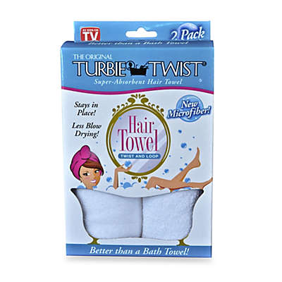The Original Turbie Twist® Super-Absorbent Hair Towel in White (Set of 2)