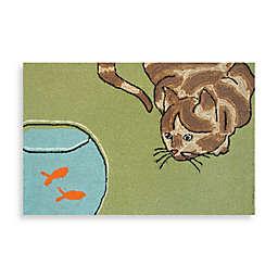Trans-Ocean Frontporch Curious Cat Indoor/Outdoor Rug