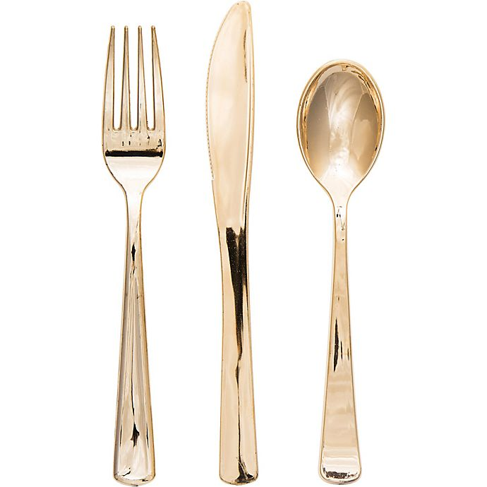 Alternate image 1 for 32-Count Assorted Plastic Cutlery Set in Gold