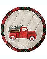 Platos para postre Special Occasion con camión de entregas y árbol