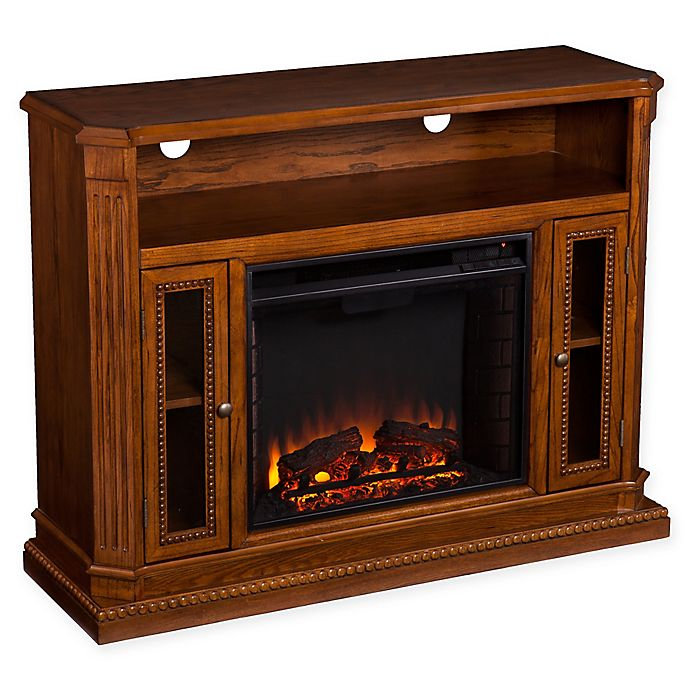 Alternate image 1 for Southern Enterprises© Atkinson Media Stand Electric Fireplace in Rich Oak