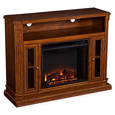 Southern Enterprises Atkinson Media Fireplace in Rich Brown Oak