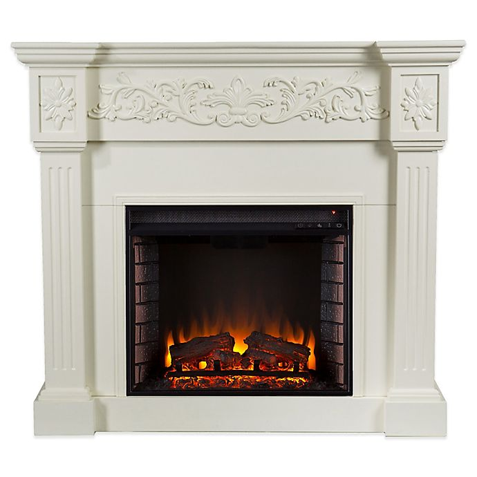 Alternate image 1 for Southern Enterprises© Calvert Carved Media Stand Electric Fireplace in Ivory
