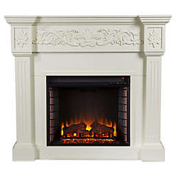 Southern Enterprises© Calvert Carved Media Stand Electric Fireplace in Ivory