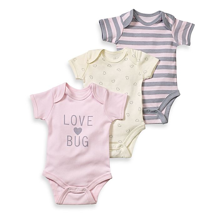 Alternate image 1 for Sterling Baby Love Bug 3-Pack Bodysuit Set in Pink/Grey/Ivory