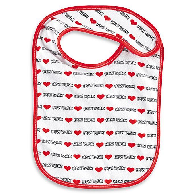 Alternate image 1 for Heart New York Baby Bib in White/Red