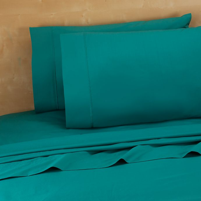 Alternate image 1 for 220-Thread-Count 100% Cotton Twin XL Sheet Set in Teal