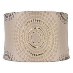 Medium 14-Inch Metallic Geometric Softback Lamp Shade in Silver