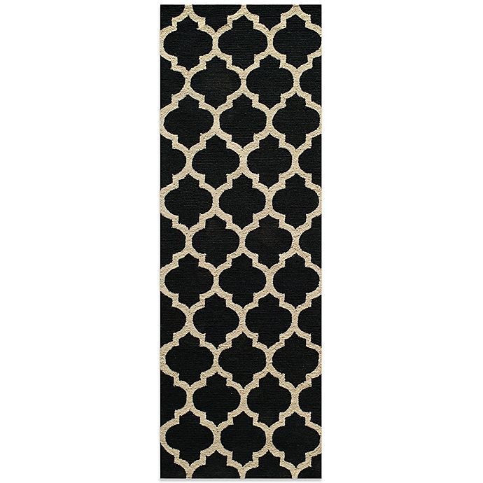 Alternate image 1 for Dimensions 2-Foot 3-Inch x 7-Foot 6-Inch Hook Rug in Black