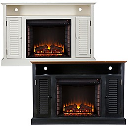 Southern Enterprises Antebellum Media Stand Electric Fireplace with Storage
