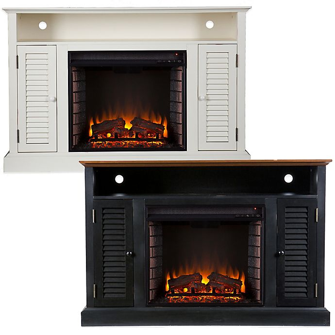 Alternate image 1 for Southern Enterprises© Antebellum Media Stand Electric Fireplace with Storage