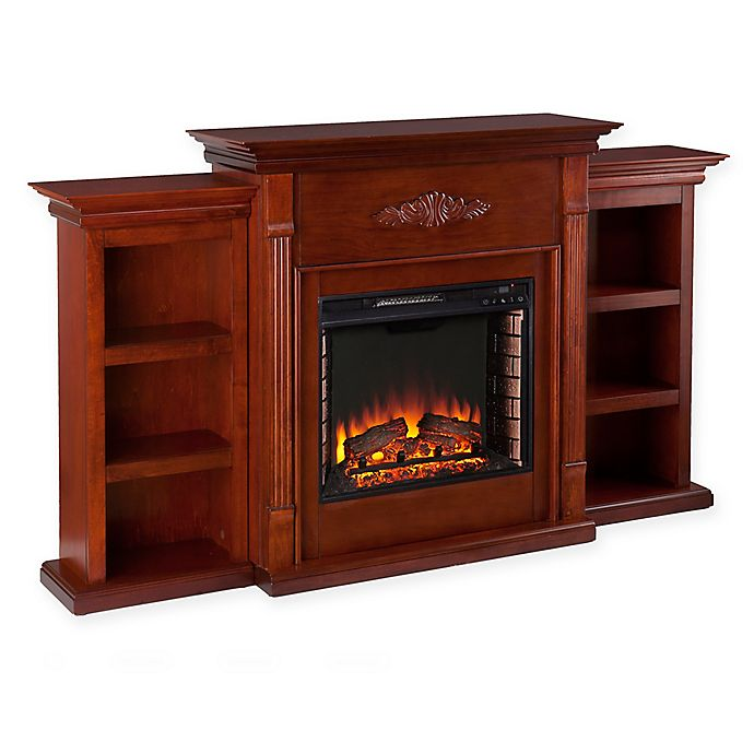 buy southern enterprises tennyson mahogany electric fireplace with bookcases from bed bath beyond. Black Bedroom Furniture Sets. Home Design Ideas