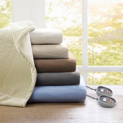 Beautyrest Heated Ribbed Micro Fleece Blanket Bed Bath