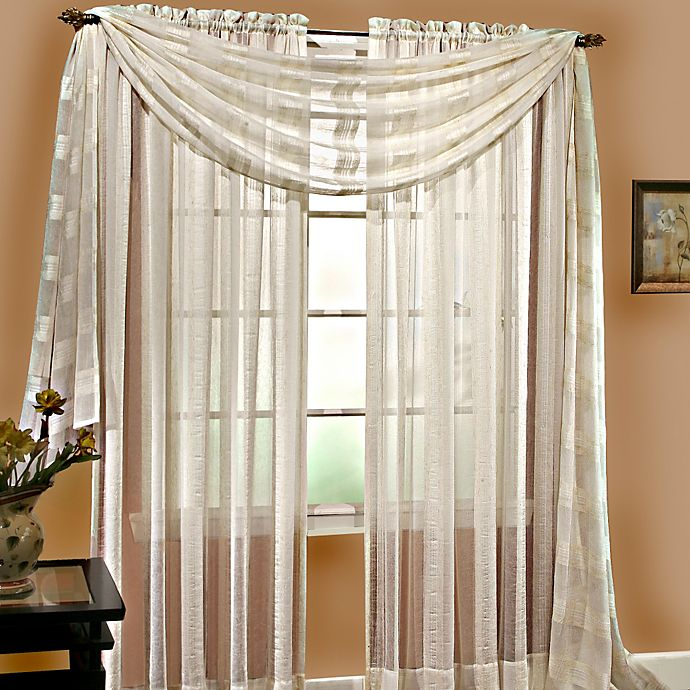 Alternate image 1 for Linen Sheer 63-Inch Pocket Window Panel in Ivory