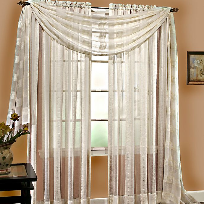 Linen Sheer 6 Yard Window Scarf in Ivory Bed Bath and