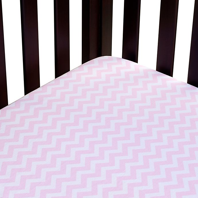 Alternate image 1 for Carter's® Mix & Match Zigzag Fitted Crib Sheet in Pink