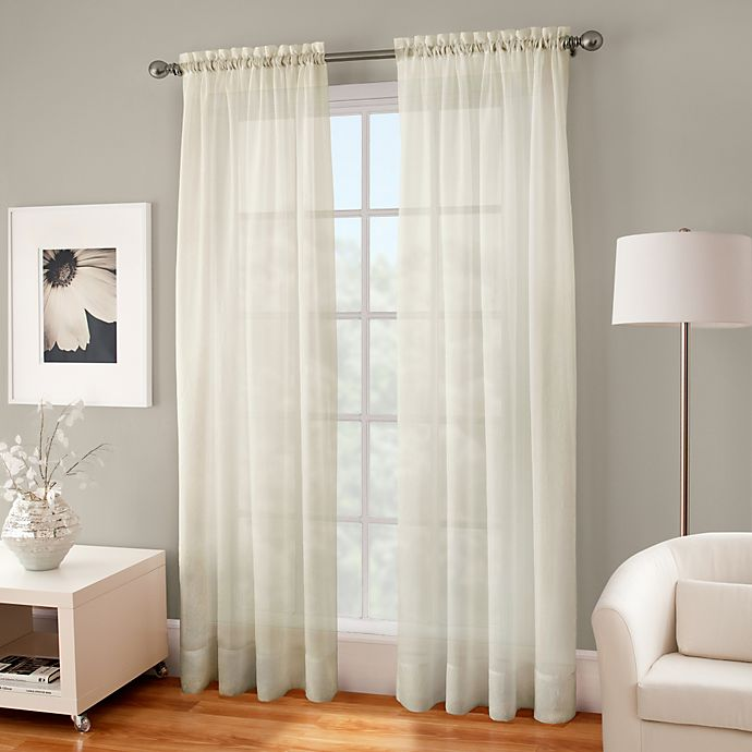 Alternate image 1 for Crushed Voile Sheer 72-Inch Rod Pocket Window Curtain Panel in Ivory
