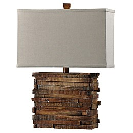 1-Light Faux Wood Layered Table Lamp in Natural