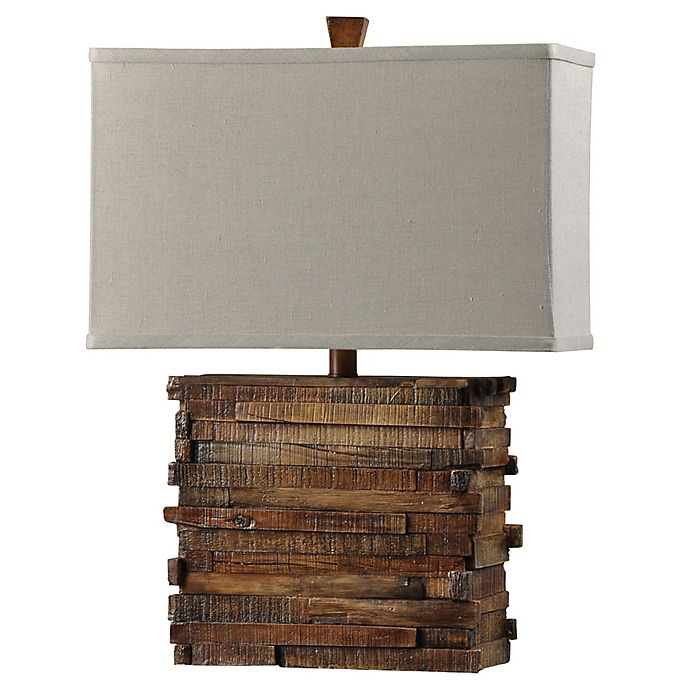 Alternate image 1 for 1-Light Faux Wood Layered Table Lamp in Natural