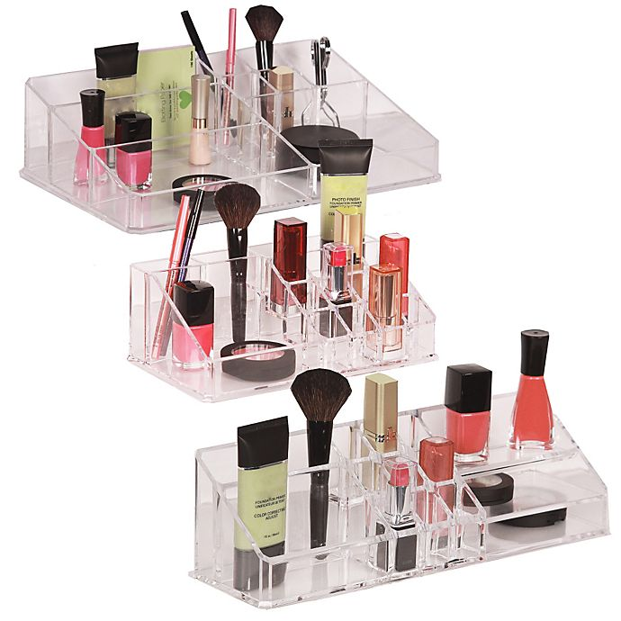 Alternate image 1 for Clear Multi-Compartment Cosmetic Organizers