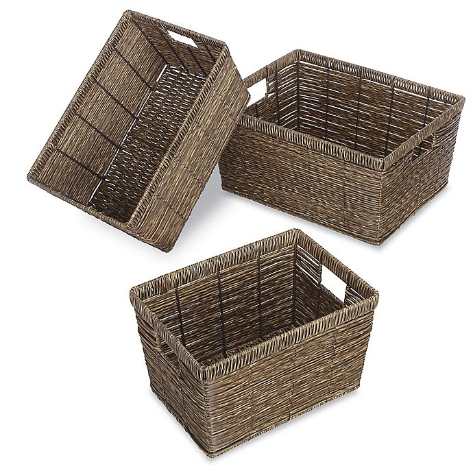Alternate image 1 for Whitmor Rectangular Rattique Baskets (Set of 3)