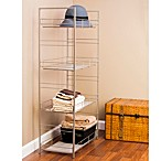 Adjustable 4-Tier Mesh Accent Shelf in Satin Nickel Finish